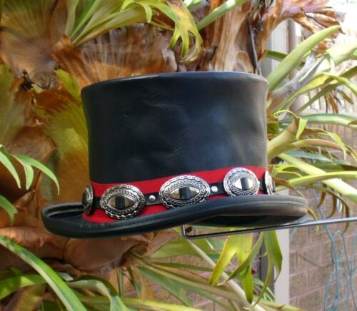 BLACK LEATHER WILD WEST MENS TOP HAT WITH CONCHOS FORMAL FANCY DRESS UP
