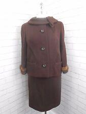Vintage 1950s Ladies Brown Retro Skirt & Jacket Suit Real Mink Fur Cuffs 10/12