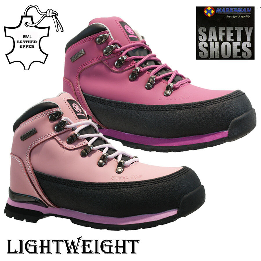 NEW LADIES LEATHER STEEL TOE CAP SAFETY WORK ANKLE TRAINERS SHOES BOOTS SIZE