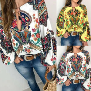 Women-Casual-V-Neck-Long-Latern-Sleeve-Printed-Loose-Pullover-Blouse-T-Shirt-P