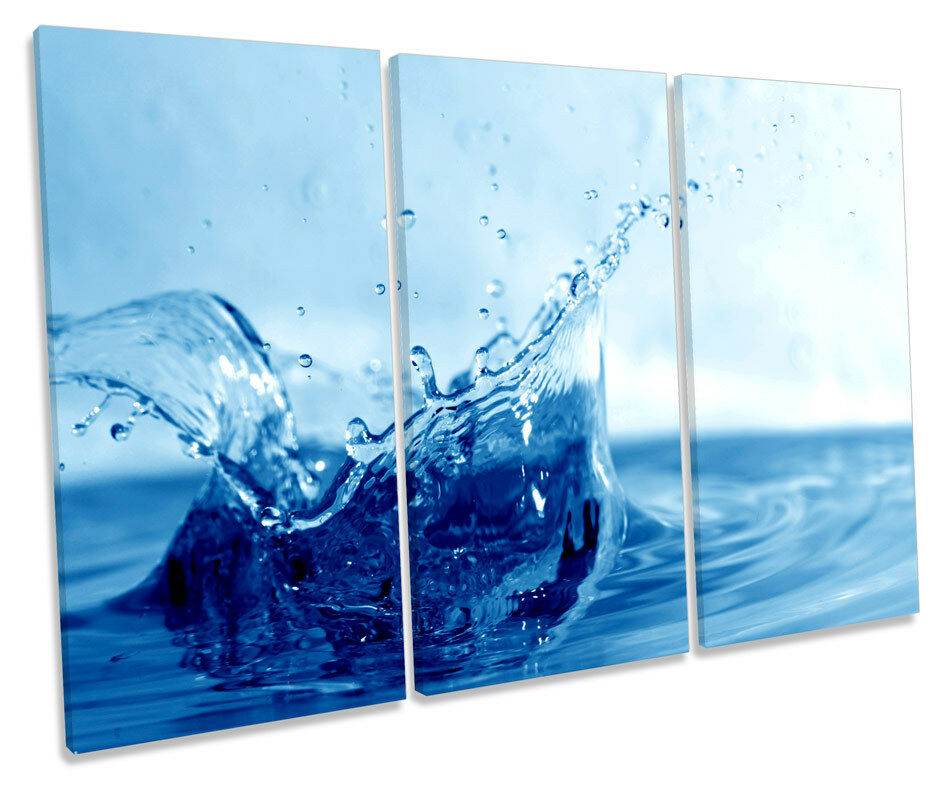 Blau Water Splash Bathroom CANVAS Wand Kunst TREBLE Box Frame Drucken