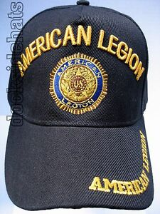 AMERICAN-LEGION-Insignia-Cap-Hat-w-Insignia-Black-Military-Free-Shipping