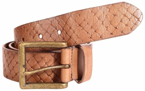 New Mens Genuine Leather 40mm Cognac Pin Buckle Loop Textured Belts S-3XL