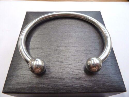 Solid Sterling Silver.925 Schwer Torque Armreif 50 Gramm 12mm Bälle