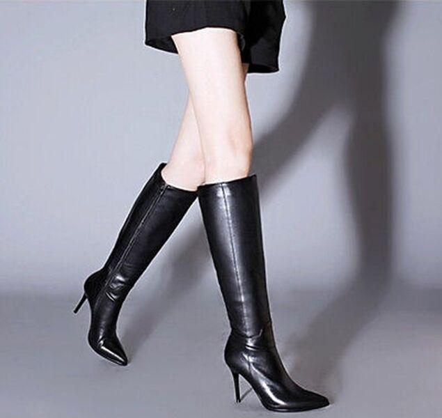 Femmes noir en cuir véritable talon aiguille fermeture éclair genou démarrage chaussures @ 131451