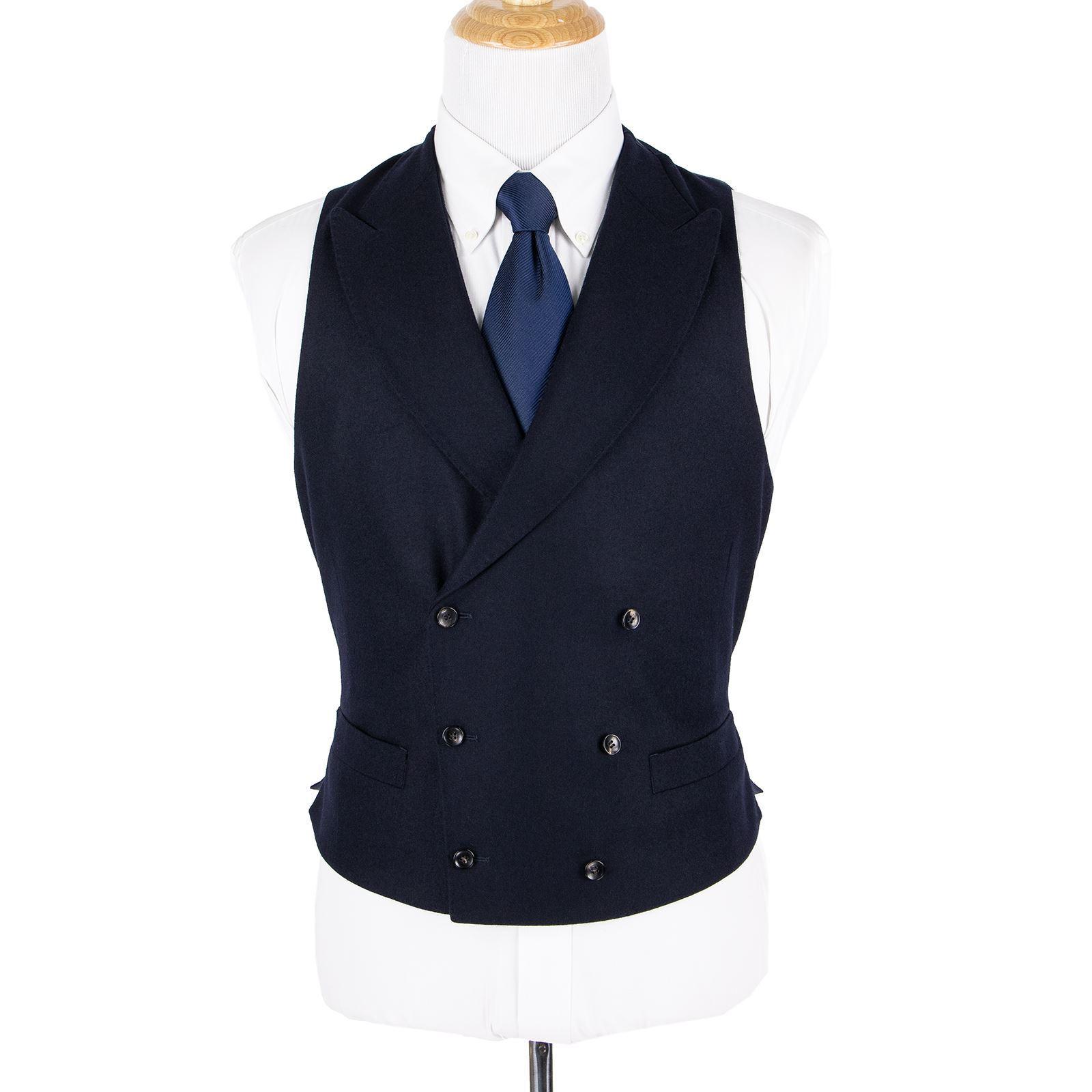 NWOT Suitsupply Navy Vitale Barberis Wool Flannel Peak Dbl Breast Waistcoat 38US