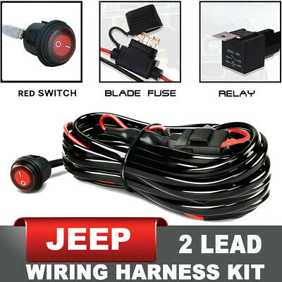 Wiring Harness LED Light Bar 40Amp Relay Fuse ON-Off Switch 2 Lead for jeep ATV
