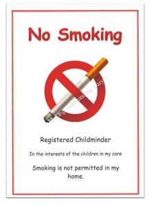 image is loading childminder eyfs 034 no smoking 034 a4 poster