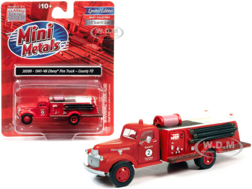 """1941-46 CHEVROLET FIRE TRUCK /""""COUNTY FD/"""" RED 1//87 CLASSIC METAL WORKS 30599 HO"""