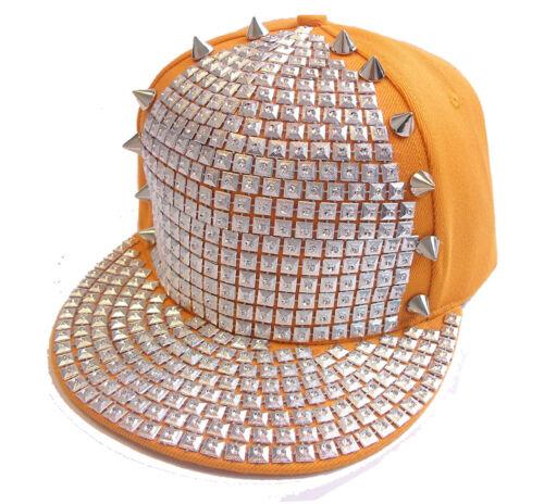 Studded Bling Snapback Cap Star Badge Hip Hop Rhinestone Spikes Hat