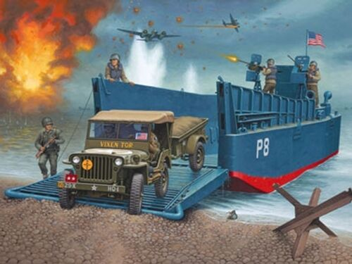 REVELL 1 35 KIT LCM 3 50ft LANDING CRAFT & JEEP WITH TRAILER  ART 03000