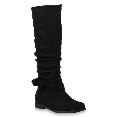 Klassische Damen Stiefel Modische Boots Schleifen 819816 Schuhe