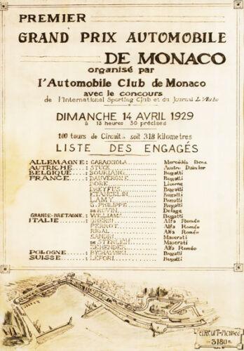 Av30 Vintage 1929 Grand Prix de Mónaco Motor Racing Poster volver a imprimir A2 A3