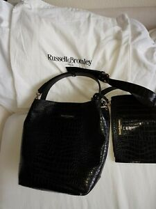 Russell-amp-Bromley-Black-Leather-Handbag-With-Attached-Clutch-Purse-And-Dustbag