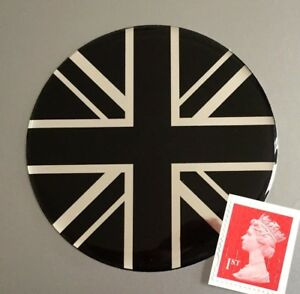 Union-Jack-Flag-Sticker-Domed-Finish-Black-amp-Chrome-75mm-Diameter