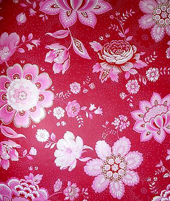 Fleece WALLPAPER Eijffinger PIP 341011 large flowers Blumenmuster Red Pink White