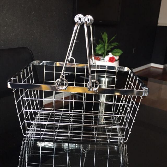 CHROME WIRE BATH KITCHEN storage basket caddy EGGS FRUIT CONDIMENTS BASKET BOX