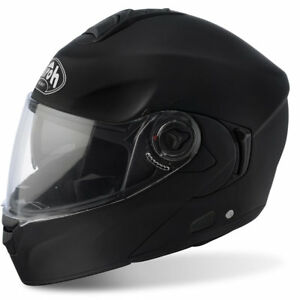 Airoh-Paseos-Negro-Mate-Tapa-Frontal-Deslizable-Motocicleta-Casco-Pinock-Bandeja