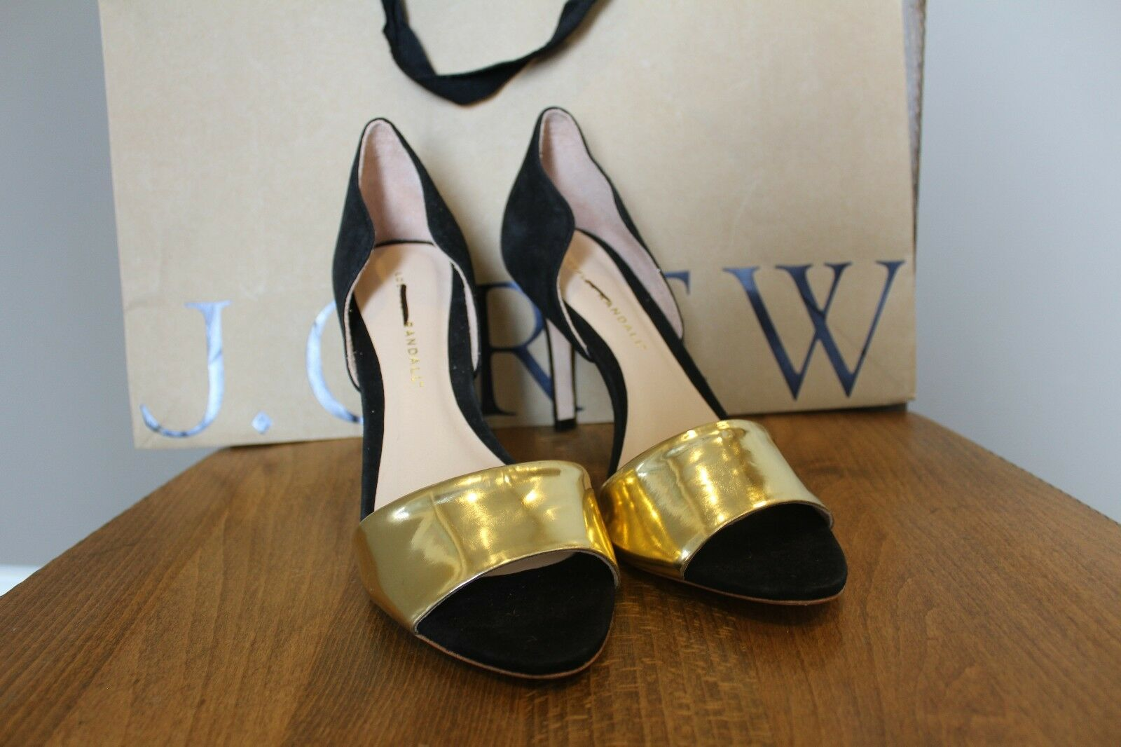 New J Crew Partner LOEFFLER RANDALL Heels Black Suede with Gold Tone 7.5