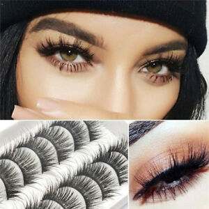 dc1e78f777f 10 Pairs Long Natural Thick Handmade False Eyelashes Eye Lashes Fake ...