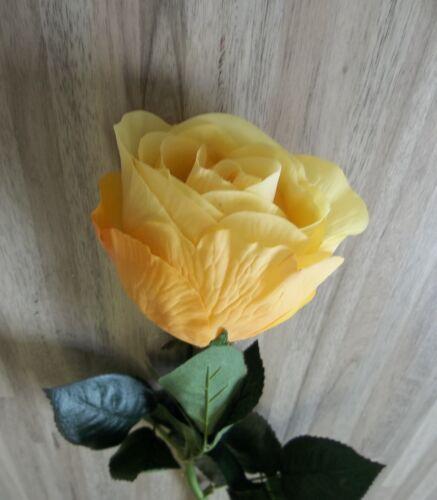 Rose Bauernrose Real Touch Seidenblume gelb orange 75 cm 264060-G F8