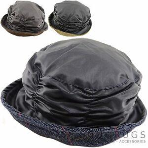 Hüte & Mützen Damen Gewachst Glocke Wasserfest Hut Mit Bunt Tweed Krempe Dauerhafte Modellierung Aus Dem Ausland Importiert Damen
