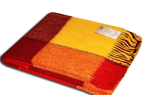 Plaid wool throws Blanket New Zeland Wool 100/% tartan Scottish Elf Red Yellow