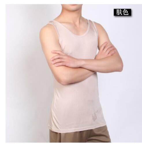 Mens 100/% Pure Silk Tank Top Singlet Leisure Casual Vests Comfort Under Shirts
