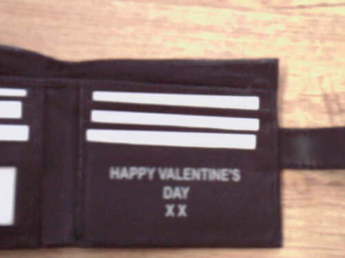 HAPPY VALENTINE/'S DAY XX PRE MADE PERSONALISED LEATHER WALLET DELIVER NEXT DAY