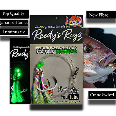 5x Flasher Rig Tied Paternoster Rig Snapper Bait Fishing 6//0 Hook Rigs 60 Leader
