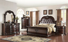 New Formal Traditional Design Marble Top King Size 4-pcs Set Bedroom Furniture