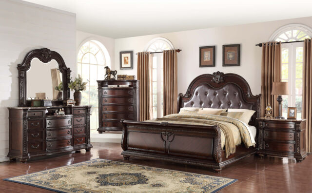 New Formal Traditional Design Marble Top Queen Size 4pcs Set Bedroom  Furniture