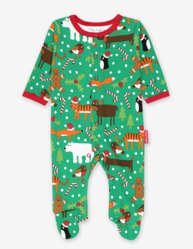 Toby Tiger Organic Cotton 1st Christmas Festive Friends Babygrow Sleepsuit