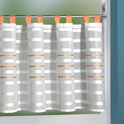Scheibengardine weiss mit orangen Schlaufen 140x50 cm BxH