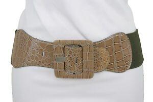 varietà di design ufficiale accaparramento come merce rara Dettagli su Donna Beige Cintura Elastica Moda Fianco Vita Alta Fibbia  Quadrata Taglie Forti