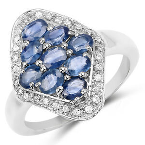 2-12-Ct-Genuine-Blue-Sapphire-amp-White-Zircon-925-Sterling-Silver-Wedding-Ring