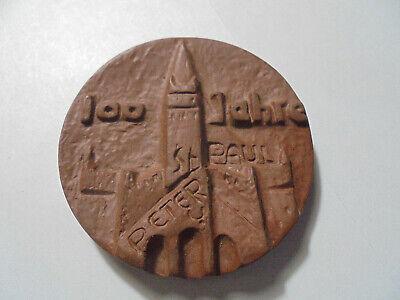 31180 Meissen Medaille 100 Jahre St Peter U. Paul Potsdam 48mm Medal Stoneware