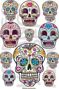 Cr ne mexicain 11 autocollants r sistant l 39 eau sugar skulls stickers moto fleurs ebay - Stickers resistants a l eau ...