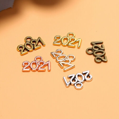 50Pcs Alloy 2021 Year Number Charms Pendant DIY Earring Necklace Jewelry Craft.