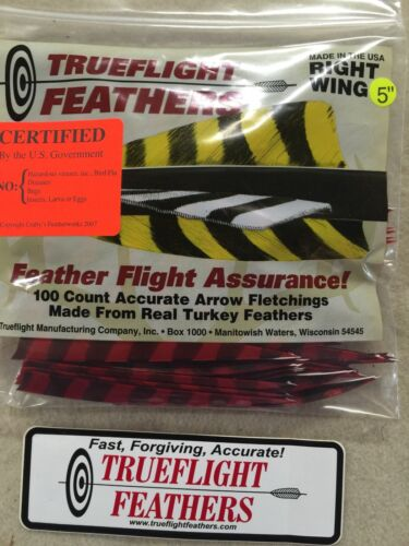 Trueflight 5 inch Feathers Right Wing Shield Cut 100 pack Red Barred
