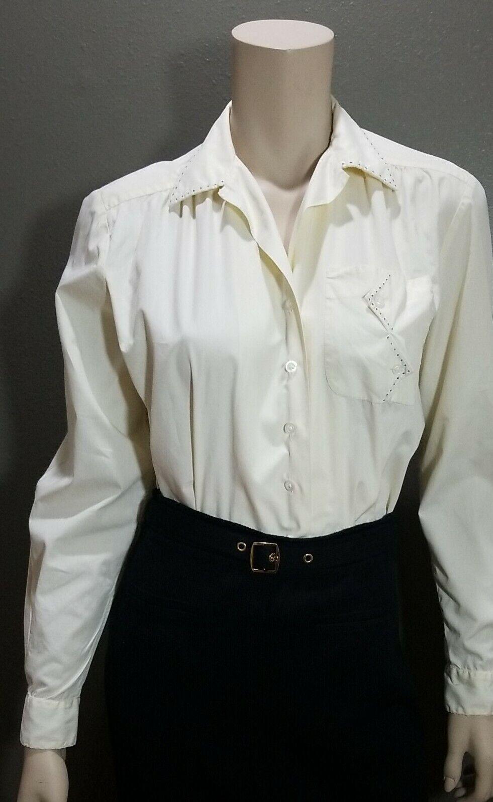 (M) ART DECO True Vintage 1940s Women's Cotton Blouse Off White RARE Find