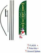 Merry Christmas Advertising Feather Banner Swooper Flag Sign With Flag Pole