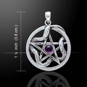 Pentagramm-mit-Schlange-und-Amethyst-Anhaenger-Silber-Schmuck-NEU