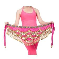 New Belly Dance Velvet & Golden Coins Belt Dancer Hip Skirt Scarf Wrap 4 colors
