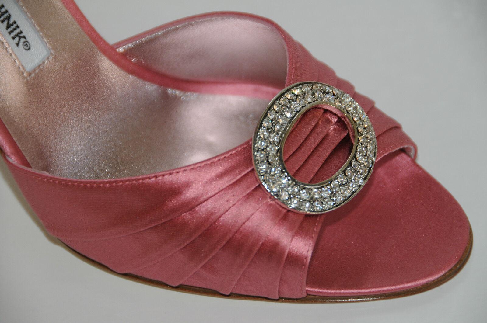risposte rapide  775 New New New MANOLO BLAHNIK SEDARABY rosa Satin Jeweled Wedding Heels scarpe 41.5 11  fantastica qualità