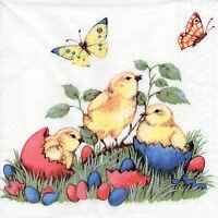 4 Servietten Napkins Tovaglioli Ostern Küken Schmetterlinge (752)