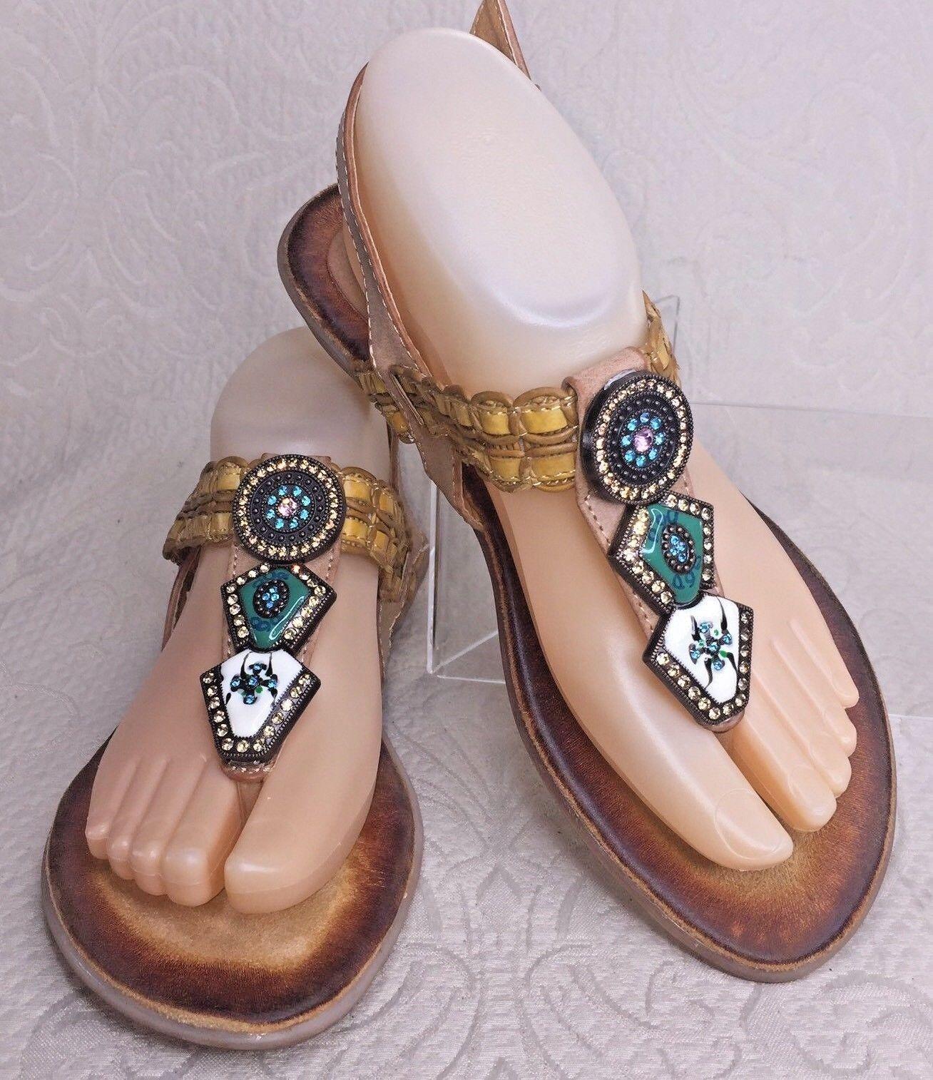 SPRING STEP PATRIZIA Sandal Women 7.5 - 8 Trinket Tan Leather Thong Jeweled New