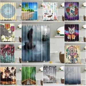 US Waterproof Bathroom Shower Curtain Fabric Animal Printing Tree Landscape Hot