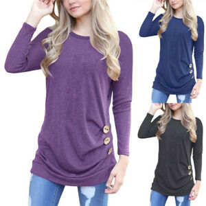 Women-Fad-Long-Sleeve-T-shirts-Lady-Blouse-Button-Loose-Sweater-Top-Outwea-hN