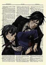Black Butler Sebastian Ciel Anime Dictionary Art Poster Picture Kuroshitsuji